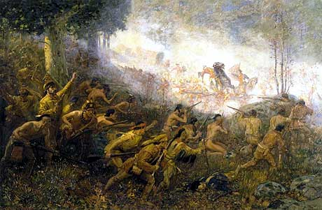The French and the Indians launch their attack.
