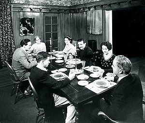 Cast of radio's One Man's Family, clockwise from lower left: Jack (Billy Page), Clifford (Barton Yarborough), Mrs. Barbour (Minetta Ellen), Claudia (Kathleen Wilson), Paul (Michael Rafetto), Hazel (Bernice Berwin), Mr. Barbour (J. Anthony Smythe).