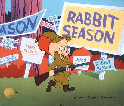 Shhh, be vawy quiet, I'm hunting wabbitt...
