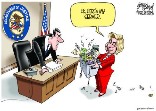 Cartoonist Gary Varvel: Hillary Clinton gives her server to Justice Dept.