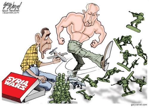 Cartoonist Gary Varvel: Putin boots Obama's Syria strategy
